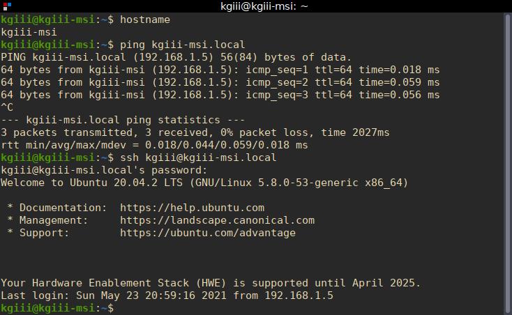 using hostname in Linux