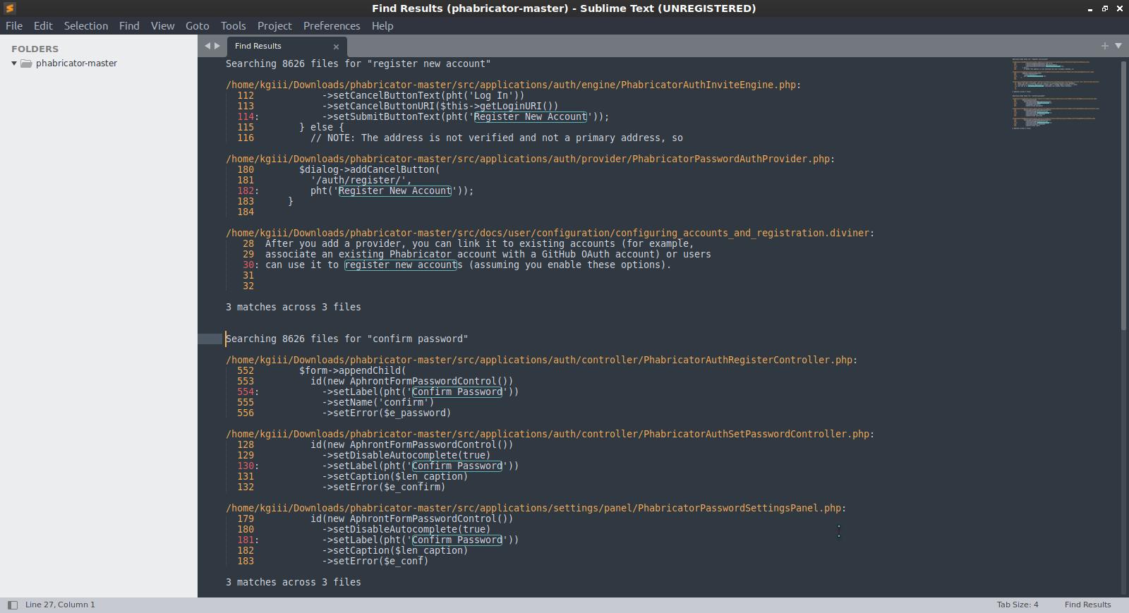sublime text finding text in files