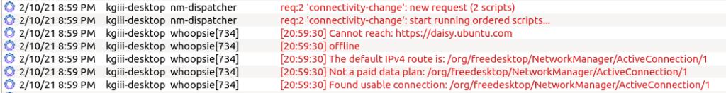 error messages in kystemlog