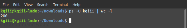 A count of processes owned by user 'kgiii'.