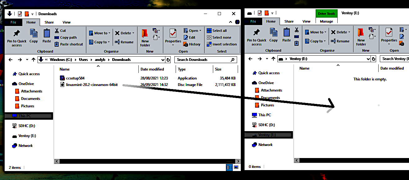 Drag iso from download location onto ventoy usb